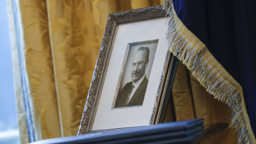 A portrait of President Donald Trump's father Fred Trump  in the Oval Office in Washington.
