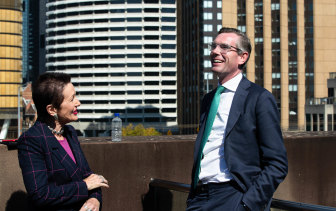 NSW Treasurer Dominic Perrottet and Sydney Lord Mayor, Clover Moore at the Sydney CBD summit