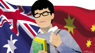 Chinese students account for 60 per cent of all international students at Australia's top universities. Illustration: Matt Davidson