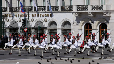 The Greek Presidential Guard during a swearing ceremony of President Katerina Sakellaropoulou in Athens.