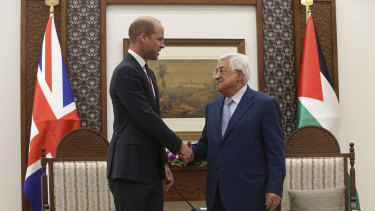 Prince William meets Palestinian President Mahmoud Abbas in the West Bank City of Ramallah on Wednesday.