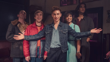 From left: David Carlyle as Gregory, Callum Scott Howells as Colin, Olly Alexander as Ritchie, Lydia West as Jill and Nathaniel Curtis as Ash.