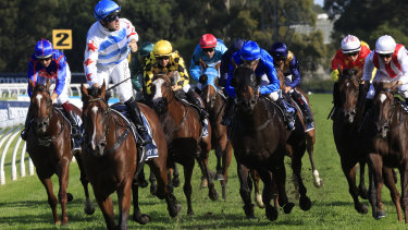 Tommy Berry wins his third Golden Slipper, this time on Stay Inside.