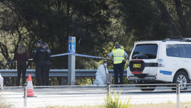 The crime scene on the M1 Pacific Motorway where Ms Yu's body was found.
