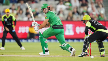 Glancing blow: Marcus Stoinis guides a  ball to fine leg during his inning for the Stars.