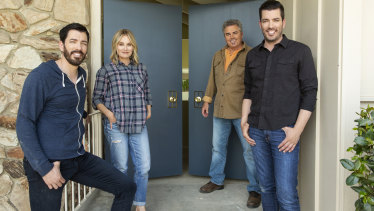 Maureen McCormick and Christopher Knight with Property Brothers stars Jonathan and Drew Scott.