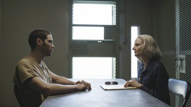 Tahar Rahim as Mohamedou Ould Salahi and Jodie Foster as Nancy Hollander in The Mauritanian.