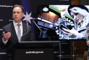 Health Minister Greg Hunt during the launch of a new Covid-19 tracing app.