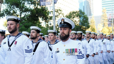 Navy servicemen take part in the Anzac Day March.