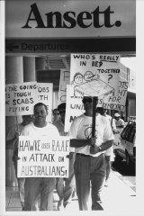 Pilots demonstrate at Brisbane Airport.
