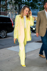 A pastel-coloured suit, like Margot Robbie's, is a smart way to ease into the work year.