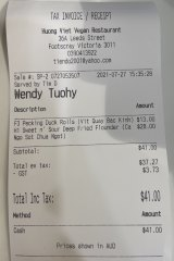 Huong Viet receipt. Lunch with Alice Pung