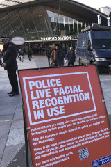 A mobile police facial recognition facility outside a shopping centre in London this year