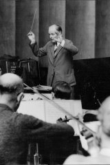 Visiting Dutch Conductor Willem Van Otterloo rehearses with the Sydney Symphony Orchestra in the A.B.C Studios at King's Cross on August 2, 1962