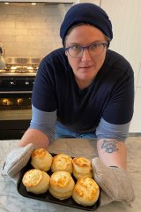 Comedian Hannah Gadsby with a batch of scones fresh out of the oven.