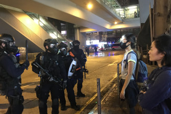 Hong Kong protests: Security forces and demonstrators face off in Mong Kok, Kowloon.