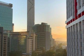 A smoke haze hangs over Brisbane's CBD on Wednesday.