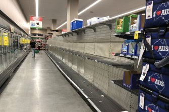 Empty shelves at Woolworths in Eastgardens.