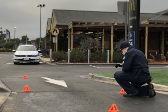 The McDonald's was a crime scene on Tuesday.