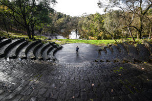 Helen Madden at the Fairfield Amphitheatre on the banks of the Yarra River.