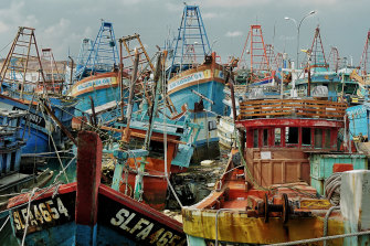 Vietnamese and Malaysian fishing boats confiscated by Indonesian authorities and held at Batam Island.