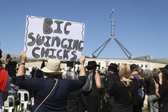 The protest outside of Parliament House in Canberra.