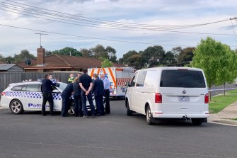 Homicide squad officers in Whittington on Wednesday afternoon.