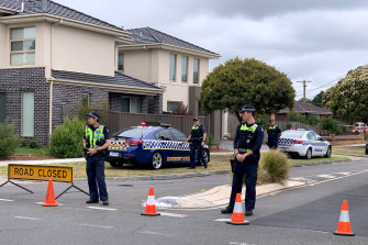 Police at the scene in Mulgrave.