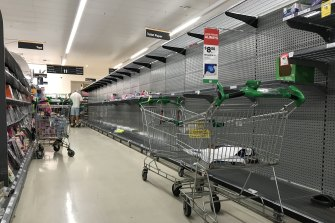 Empty shelves at Woolworths in Double Bay.