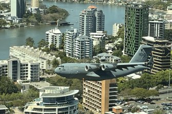 The C-17A Globemaster doing a practice run over Brisbane City on Thursday afternoon.