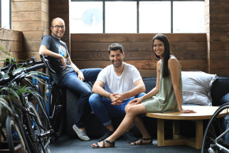 Canva co-founders Cameron Adams, Cliff Obrecht and Melanie Perkins have found the shift in the way people are working has driven platform's growth through the pandemic.