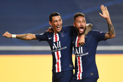 PSG stars Angel Di Maria and Neymar celebrate the former's goal against RB Leipzig in Lisbon.