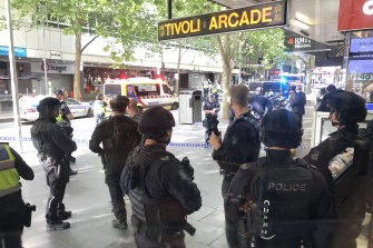 The aftermath of the Bourke Street attack in 2018.