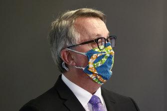Victorian Health Minister Martin Foley addresses the media on Monday.