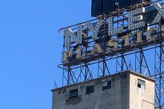 Swastikas seen on the Nylex building.