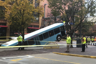 One person on the bus was treated for minor injuries following the incident.