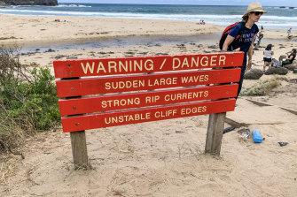 A warning sign at Bushrangers Bay.
