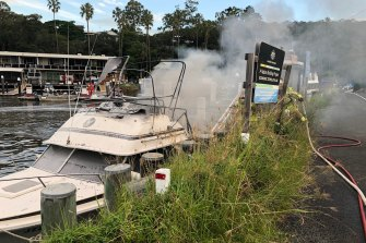 The boat was well alight when firefighters arrived.