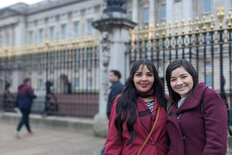 Rachel and Karolyn, from Brazil, praised Meghan for her bravery on a rainy day outside Buckingham Palace.