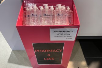 Hand sanitiser selling for $15.99 in Melbourne Central on Tuesday.