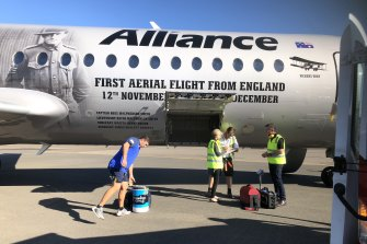 The Eels boarded an 80-seat plane from Bankstown airport.
