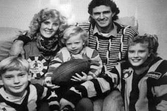 A young Shane Tuck, left, with his mother Fay, brother Travis, father Michael and sister Renee.