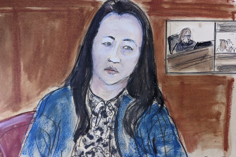 In this courtroom sketch drawn from a video feed, Meng Wanzhou, chief financial officer of Huawei Technologies, appears via video before Judge Ann Donnelly, inset on right, for her court proceeding in Brooklyn Federal Court.