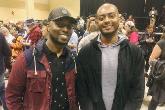 Bernie Sanders supporters Brandon Greene and Jason Glover at a rally in North Charleston.
