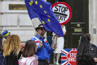 Anti-Brexit protesters demonstrate outside the Cabinet Office in Whitehall.