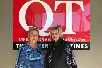 Office manager Cathy Wilkins and (right) advertising rep Michele McCoombes remember 30 years at The Queensland Times, Queensland longest continually-running newspaper. Photo: Tony Moore