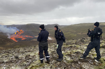 This image provided by the Icelandic Coast Guard shows the volcano on the Reykjanes Peninsula.