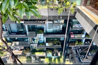 Looking down from the sky-deck, where penthouse-residents can relax with bubbles in an outdoor spa, to the magical array of gardens and balconies of One Central Park
