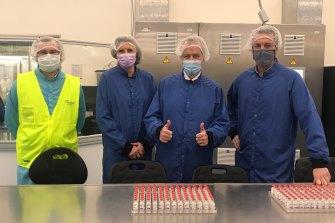 Bill Shorten, second from right, visits the CSL facility producing the AstraZeneca coronavirus vaccine.
