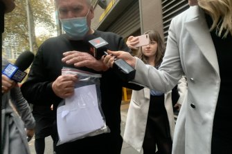 Frank Rogers leaving the Melbourne Magistrates Court on Saturday.